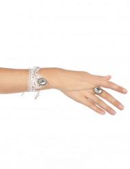 Bracelet et bague dentelle blanche femme