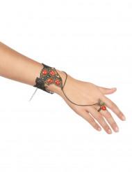 Bracelet et bague pierres rouges femme
