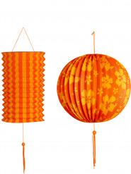 2 Lanternes oranges et jaunes