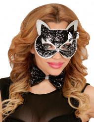 Kit chat noir et argent à paillettes adulte