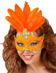 Loup orange avec plumes femme