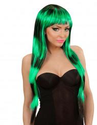 Perruque longue à frange noire et verte femme