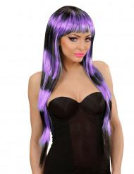 Perruque longue à frange noire et violette femme