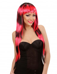 Perruque longue à frange noire et rouge femme