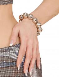 Bracelet boules argentées disco femme