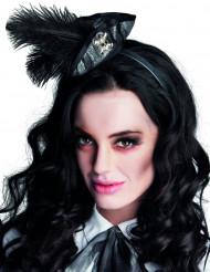 Mini tricorne pirate avec plumes noires femme