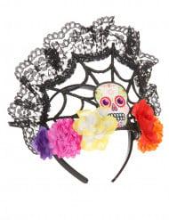 Serre-tête tiare fleurs colorées femme Dia de los muertos