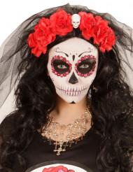Collier crânes et croix dorés femme Halloween
