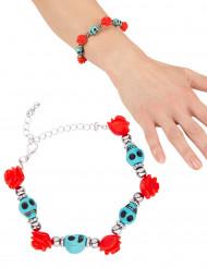 Bracelet têtes de mort turquoises femme Halloween