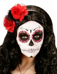 Serre tête fleurs rouges et noires femme Dia de los muertos