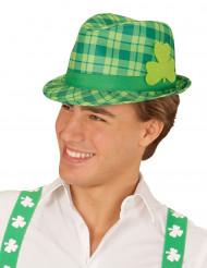 Chapeau tartan vert avec trèfle Saint Patrick adulte