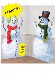 2 Décoration murales en plastique Bonhommes de neige
