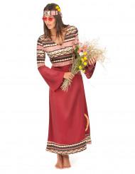 Déguisement robe hippie bordeaux femme