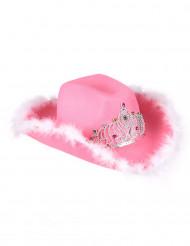 Chapeau cowgirl avec couronne rose femme