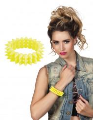 Bracelet punk jaune fluo adulte