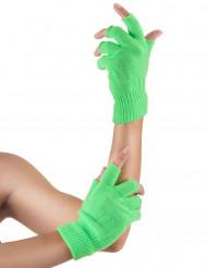 Mitaines courtes vert fluo adulte