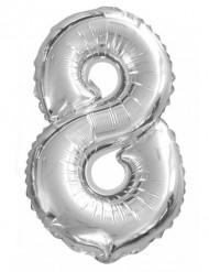 Ballon aluminium chiffre 8 argenté 35 cm