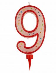 Bougie géante chiffre 9 colori aléatoire