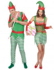 Déguisement de couple lutin de Noël adulte