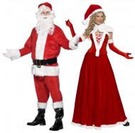 Déguisement de couple Mère et Père Noël luxe adulte