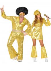 Déguisement de couple disco doré