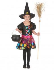 Déguisement sorcière à pois colorés fille