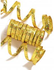 Rouleau de 10 serpentins dorés métallique 1,9 m