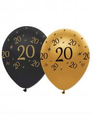 6 Ballons latex Noir et or 20 ans