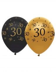 6 Ballons latex Noir et or 30 ans