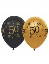 6 Ballons en latex 50 ans noirs et dorés 30 cm