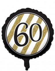 Ballon aluminium 60 ans noir et doré 46 cm