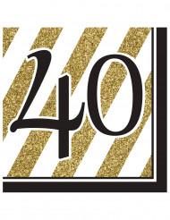 16 Serviettes en papier 40 ans noires et dorées 33 x 33 cm