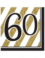 16 Serviettes en papier 60 ans noires et dorées 33 x 33 cm