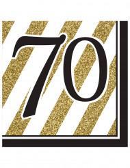 16 Serviettes en papier 70 ans noires et dorées 33 x 33 cm