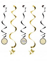 5 Suspensions en spirales anniversaire noires et dorées 80 cm