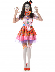 Déguisement clown à pois coloré femme