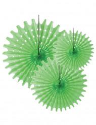 3 Rosaces éventails en papier vert anis 20 30 et 40 cm