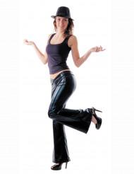 Pantalon disco noir satiné femme