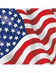 16 Serviettes en papier drapeau USA 33 x 33 cm