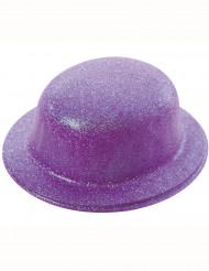 Chapeau melon pailletté violet adulte