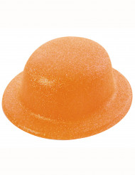 Chapeau melon pailletté orange adulte