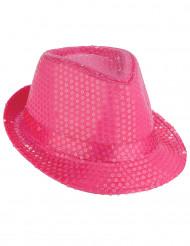 Chapeau borsalino à sequins rose fluo adulte