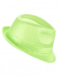 Chapeau borsalino à sequins vert fluo adulte