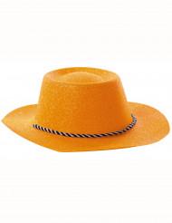 Chapeau cowgirl orange à paillettes adulte