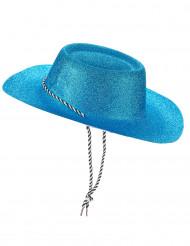 Chapeau cowgirl bleu à paillettes adulte