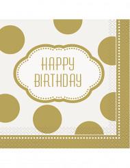 16 Serviettes en papier anniversaire doré 33 x 33 cm