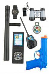 Kit Policier enfant en plastique 8 éléments
