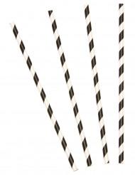 10 Pailles rayées noires