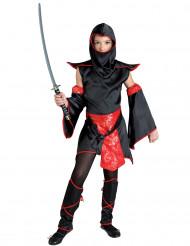 Déguisement maître ninja noir et rouge fille