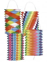 12 Lampions multicolores bariolés 13 cm